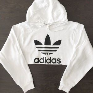 GREY AND WHITE CROPPED ADIDAS SWEATER